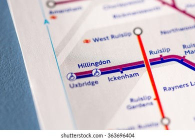 Hillingdon Station on a map of the Piccadilly metro line in London, UK.