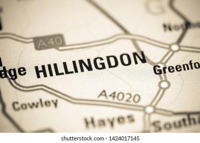 Hillingdon. United Kingdom on a map