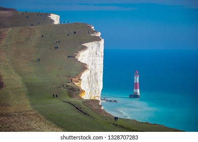 The hills at Beachy Head Eastbourne on a sunny day  - travel photography