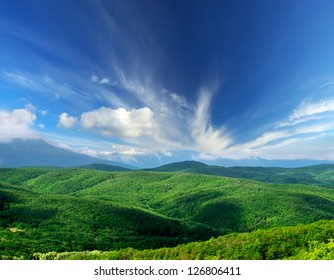 Hills and clouds. Summer landscape