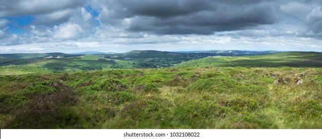Hills of Dartmoor National Park. View from Haytor. Panorama. Devon.UK