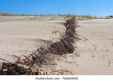 Hills in the dunes with a fence, Nida, Lithuania