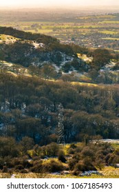 Hills in the evening with pylons