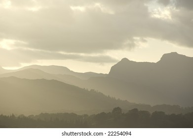 hills with fog