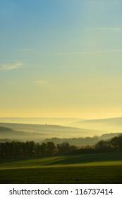 The hills in the fog. Morning landscape