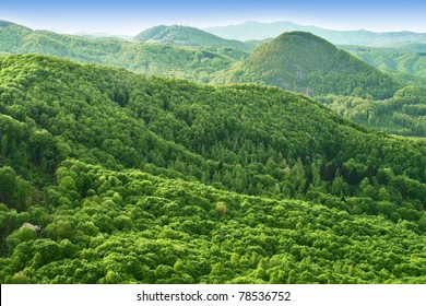 Hills and forests seen from above