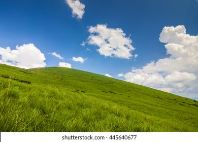 Hills with green grass and blue sky with white puffy clouds