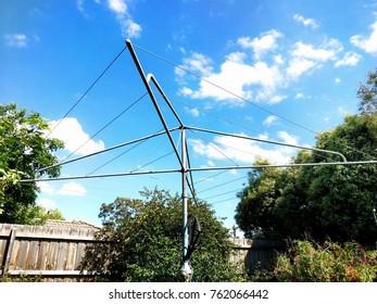 Hills hoist clothes line in Australian backyard