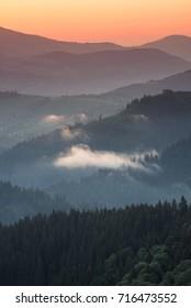 Hills lines during sunrise. Beautiful natural landscape