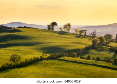 Hills of Loughcrew at Co. Meath in Ireland / Loughcrew hills/ Sunet at the hills in Co. Meath - Ireland