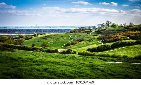 hills and mountain bike trails of Hadleigh Park near Benfleet, Essex, UK