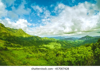 The hills and mountain with clear blue sky. Landscape