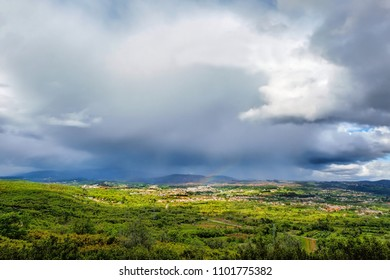 Hills Panoramic Portuguese Landscape during storm