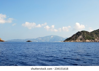 Hills in the sea in Greece