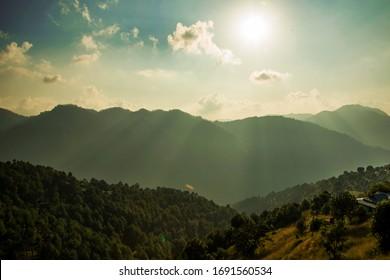 Hills and valleys of Naldehra(Shimla) Himachal Pradesh.