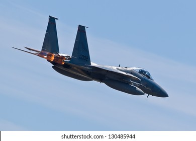 HILLSBORO, OR - AUG 5: Oregon Air National Guard F-15 Eagle aircraft fly by during Oregon Air Show at Hillsboro Airport on August 5, 2012 in Hillsboro, OR.