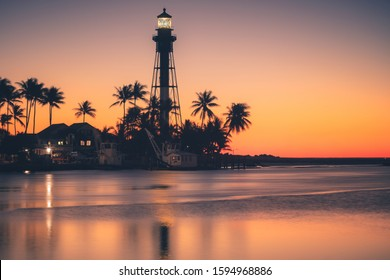 Hillsboro Inlet Lighthouse at sunrise. Hillsboro Beach, Florida, USA.