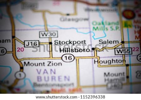 Salem Iowa Map.Hillsboro Iowa Usa On Map Stock Photo Edit Now 1152396338