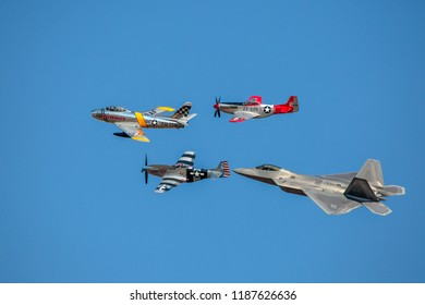 Hillsboro, Oregon - 21 September 2014: Hillsboro International Aviashow, heritage flight of  F-22, F-86 Sabre, P-51 Mustang