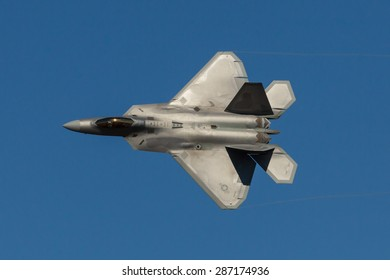 HILLSBORO, OR - SEPT 20: USAF F-22 Raptor aircraft demonstration during  Oregon International Air Show at Hillsboro Airport on September 20, 2014 in Hillsboro, OR.