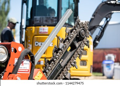 Hillsboro, OR / USA - July 28 2018:  Rental industrial equipment on display at county fair.