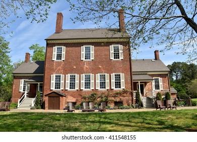 Hillsborough, North Carolina - April 20, 2016:  South front of 1815 Ayr Mount Plantation, estate of William Kirkland