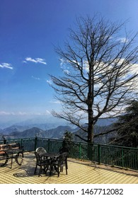 Hillside coffee table in Dalhousie, Himachal Pradesh, India.