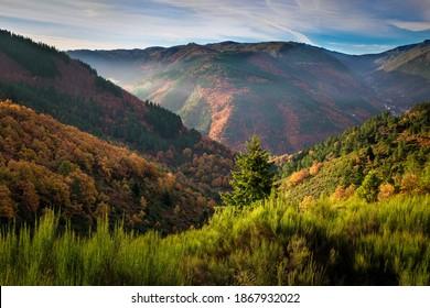 Hillside colorful autumn landscape at Manteigas - Serra da Estrela - Portugal.