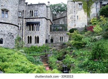Hillside Garden in an English  Medieval Castle