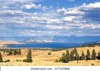 Hillside of juniper and sage brush above Flathead Lake and the town Elmo, Montana