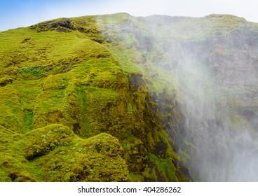 Hillside near the Skogafoss waterfall in Iceland