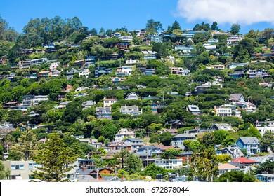 Hillside residential housing in California, USA