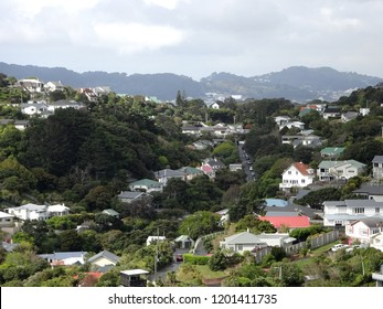 Hillside suburb of Crofton Downs,showing residential housing Wellington New Zealand