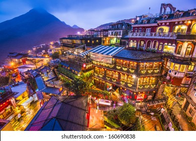 Hillside teahouses in Jiufen, Taiwan.