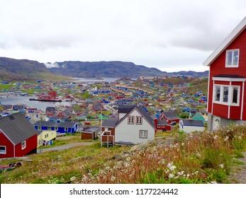 Hillside view of Qaqortoq, Greenland