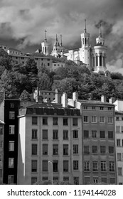 Hilltop church in Lyon, Basilica of Notre-Dame de Fourviere in Black and White