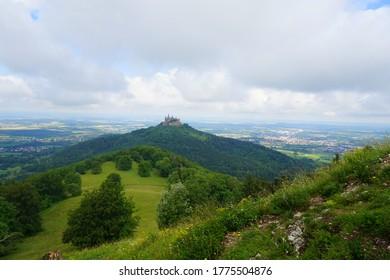 Hilltop Hohenzollern Castle on mountain top in Swabian Alps, Baden-Wurttemberg, Germany