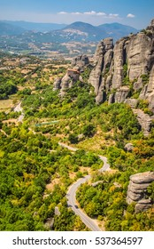 Hilltop Monastery in the surreal area of Meteora in Northern Greece. Built on cliff tops as a defense in the 18th century.