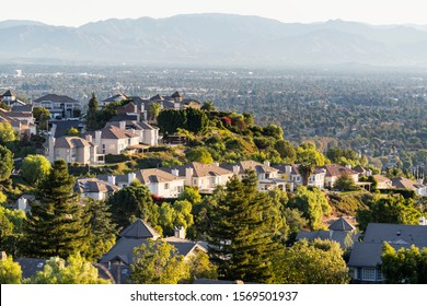 Hilltop San Fernando Valley view from the West Hills neighborhood in area of Los Angeles, California.