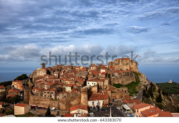 Hilltop view of Giglio Castello, a medieval fortress on Giglio Island, Tuscany, Italy.