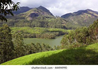 a hilltop view of periyar lake in the western ghats of south india