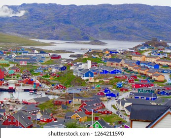 Hilltop view of Qaqortoq, Greenland. The  town is in southern Greenland with a population of around 4,000 people.