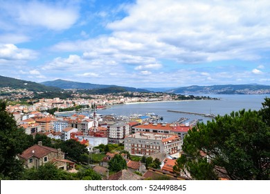 Hilltop view of the town of Cangas in the Bay of Vigo, Galicia, Spain