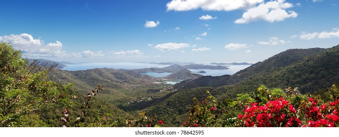 Hilltop view of the Virgin Islands from St John