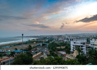 Hilltop View of Visakhapatnam/ Vizag city with moody sky.