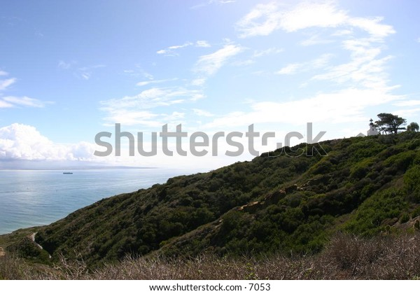 hilly area overlooking the sea