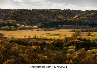 Hilly autumn scene with fall colors