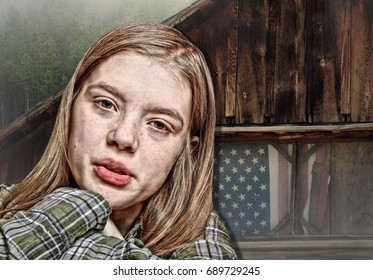 Hilly Billy Child in Front of a Mountain Shack with an American Flag in the Window