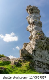 Hilly landscape with Jurassic limestone rocks