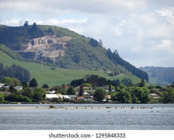 Hilly landscape near Lake Rotorua North Island New Zealand